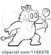 Cartoon Clipart Of A Black And White Romantic Boar Presenting A Single Rose Vector Outlined Coloring Page