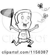 Cartoon Clipart Of A Black And White Energetic Boy Chasing Butterflies With A Net Vector Outlined Coloring Page