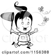 Cartoon Clipart Of A Black And White Happy Girl Running And Chasing Butterflies With A Net Vector Outlined Coloring Page