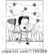Cartoon Clipart Of A Black And White Black Boy Chasing Butterflies With A Net Vector Outlined Coloring Page