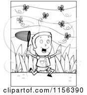 Cartoon Clipart Of A Black And White Happy Boy Chasing Butterflies With A Net Vector Outlined Coloring Page