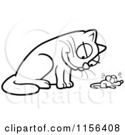 Cartoon Clipart Of A Black And White Cat Glaring Down At A Mouse Vector Outlined Coloring Page