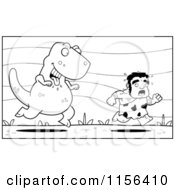 Cartoon Clipart Of A Black And White Stalky Caveman Character Being Chased By A Big Dinosaur Vector Outlined Coloring Page by Cory Thoman