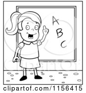 Cartoon Clipart Of A Black And White Smart School Girl With ABCs On A Chalk Board Vector Outlined Coloring Page by Cory Thoman