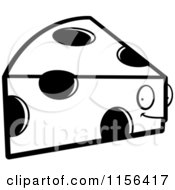 Cartoon Clipart Of A Black And White Swiss Cheese Wedge Character Vector Outlined Coloring Page