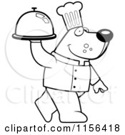 Cartoon Clipart Of A Black And White Chef Bear Walking And Carrying A Platter Vector Outlined Coloring Page