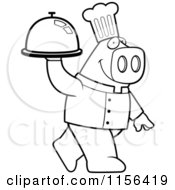 Cartoon Clipart Of A Black And White Pig Chef Carrying A Platter Vector Outlined Coloring Page