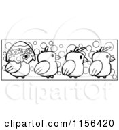 Cartoon Clipart Of A Black And White Border Of Chicks And A Half Egg Shell Vector Outlined Coloring Page