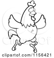 Cartoon Clipart Of A Black And White Crazy Chicken Running And Flapping Its Wings Vector Outlined Coloring Page