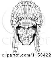 Cartoon Clipart Of A Black And White Native American Chief Vector Outlined Coloring Page by Cory Thoman