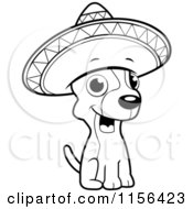 Cartoon Clipart Of A Black And White Chihuahua Sitting And Wearing A Sombrero Vector Outlined Coloring Page by Cory Thoman