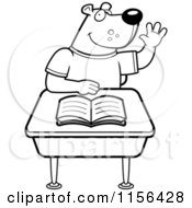 Cartoon Clipart Of A Black And White Student Bear Raising His Hand In Class Vector Outlined Coloring Page by Cory Thoman