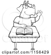 Cartoon Clipart Of A Black And White Student Triceratops Raising His Hand In Class Vector Outlined Coloring Page by Cory Thoman