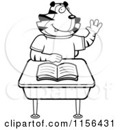 Cartoon Clipart Of A Black And White Tiger Student Raising His Hand At A Desk Vector Outlined Coloring Page