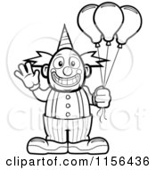 Cartoon Clipart Of A Black And White Friendly Waving Circus Clown Holding Balloons Vector Outlined Coloring Page