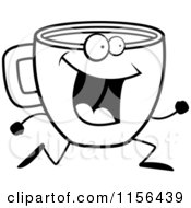 Cartoon Clipart Of A Black And White Happy Running Coffee Cup Character Vector Outlined Coloring Page by Cory Thoman