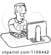 Black And White Businessman Working On A Computer