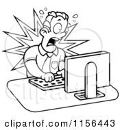 Black And White Mad Businessman Working On A Computer