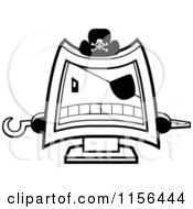 Black And White Computer Pirate Wearing A Hat Eye Patch And Holding Out Peg And Hook Hands