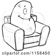 Cartoon Clipart Of A Black And White Lazy Couch Potato On A Chair Vector Outlined Coloring Page by Cory Thoman