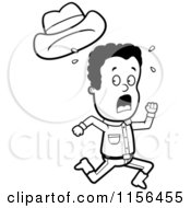 Cartoon Clipart Of A Black And White Black Cowboy Running Scared Vector Outlined Coloring Page
