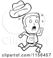 Cartoon Clipart Of A Black And White Sweaty Caucasian Cowboy Boy Character Running Vector Outlined Coloring Page