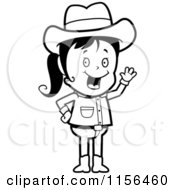 Cartoon Clipart Of A Black And White Waving Cowgirl Vector Outlined Coloring Page
