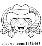 Cartoon Clipart Of A Black And White Happy Cowgirl With Braids Over A Wood Plaque And Rope Vector Outlined Coloring Page
