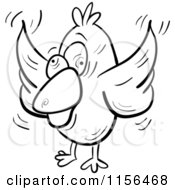Cartoon Clipart Of A Black And White Crazy Bird Vector Outlined Coloring Page