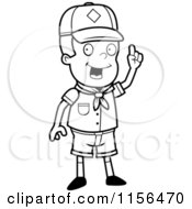 Cartoon Clipart Of A Black And White Cub Scout Boy With An Idea Vector Outlined Coloring Page by Cory Thoman