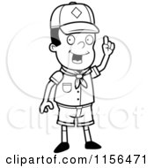 Cartoon Clipart Of A Black And White Smart Black Cub Scout Boy Holding Up His Finger Vector Outlined Coloring Page by Cory Thoman