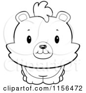 Cartoon Clipart Of A Black And White Baby Bear Smiling Upwards Vector Outlined Coloring Page
