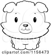 Cartoon Clipart Of A Black And White Baby Bichon Puppy Smiling Upwards Vector Outlined Coloring Page by Cory Thoman
