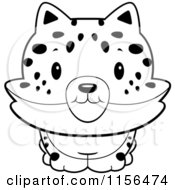 Cartoon Clipart Of A Black And White Baby Bobcat Smiling Vector Outlined Coloring Page