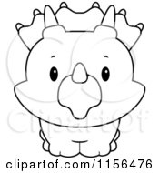 Cartoon Clipart Of A Black And White Baby Triceratops Smiling Upwards Vector Outlined Coloring Page