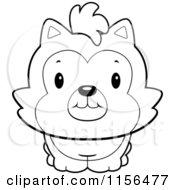 Cartoon Clipart Of A Black And White Cute Husky Dog Vector Outlined Coloring Page by Cory Thoman