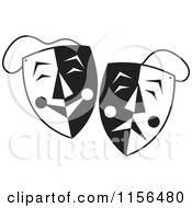 Cartoon Of Black And White Comedy Drama Theater Masks Royalty Free Vector Illustration