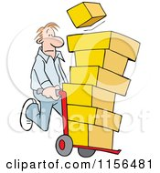 Cartoon Of A Man Using A Hand Truck Dolly To Move Boxes Royalty Free Vector Illustration