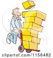 Cartoon Of A Happy Man Using A Hand Truck Dolly To Move Boxes Royalty Free Vector Illustration