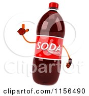 Clipart Of A 3d Soda Bottle Mascot Holding Up A Finger Royalty Free CGI Illustration