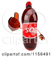 Clipart Of A 3d Soda Bottle Mascot Holding A Thumb Up Royalty Free CGI Illustration