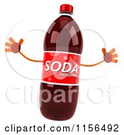Clipart Of A 3d Soda Bottle Mascot Jumping Royalty Free CGI Illustration