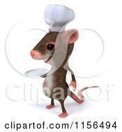 Clipart Of A 3d Chef Mouse Holding A Plate 2 Royalty Free CGI Illustration