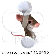 Clipart Of A 3d Chef Mouse Holding A Plate 3 Royalty Free CGI Illustration