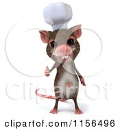 Clipart Of A 3d Chef Mouse Holding A Thumb Up Royalty Free CGI Illustration