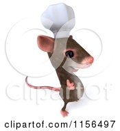 Clipart Of A 3d Chef Mouse Facing Right And Holding A Thumb Up Royalty Free CGI Illustration