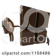 Clipart Of A 3d Chocolate Mascot Holding A Thumb Down Royalty Free CGI Illustration