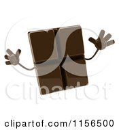 Clipart Of A 3d Chocolate Mascot Jumping Royalty Free CGI Illustration