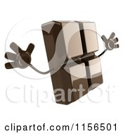 Clipart Of A 3d Chocolate Mascot Jumping 2 Royalty Free CGI Illustration