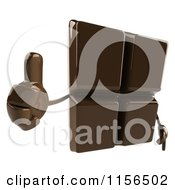 Clipart Of A 3d Chocolate Mascot Holding A Thumb Up Royalty Free CGI Illustration by Julos